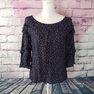 MAEVE 100% SILK POLKA DOT RUFFLE SLEEVE TOP 4
